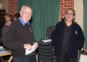 Mike Hayler at the HQ after the 24 hour event in 2011 with CTT National Chairman Sheila Hardy.